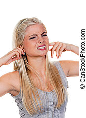 Women suffering from noise nuisance, keeps the ears