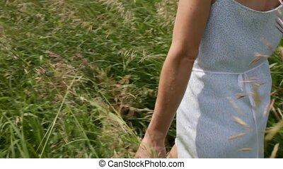Women Summer - Women walks through summer field