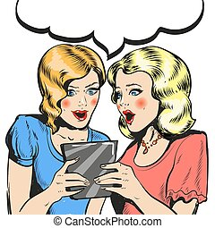 Women surprised holding tablet comic style illustration...