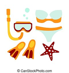 Women swimsuit and accessories for diving. Colorful cartoon Illustration
