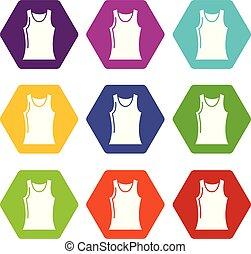 Women t shirt icons set 9 vector