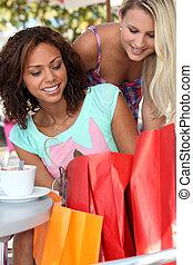 Women taking a break from shopping