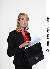 Women taking portfolio documents
