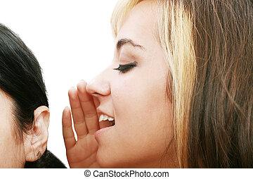 women talking and listening to gossip