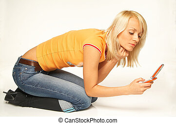 women talking cell phone - Pretty young women talking cell...
