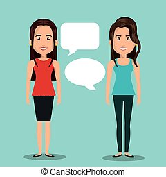 women talking dialogue isolated