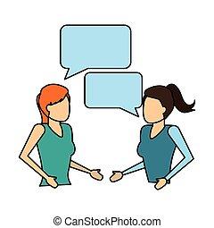 women talking speech bubble