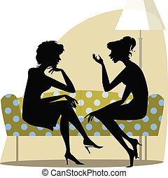 Women talking - Two women talking on the sofa