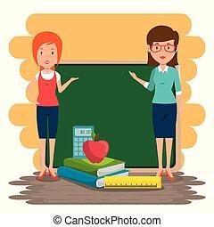 women teacher in the classroom