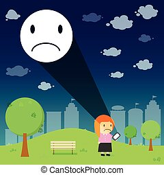 Women through the emotional sad resonance on smart phone in the park