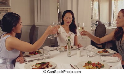 Women toasting with white wine at dinner in slow motion