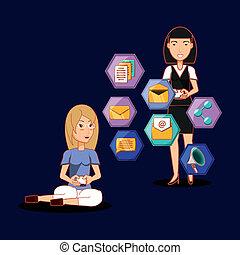 women together using mobile social media