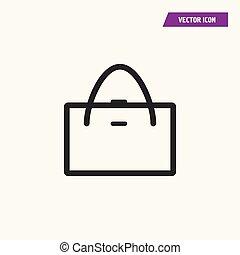 Women tote bag, handbag icon, symbol, logo illustration. Linear style on white font. Vector.