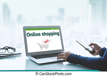 Women use laptops and credit cards to order online. Technology Concepts and Modern Life