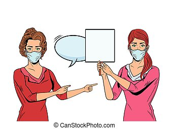 women using face masks for covid19 with banner and speech bubble