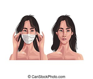 women using fase mask ,covid19 protection vector illustration design