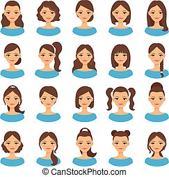 Women various hair styles