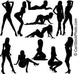 women - silhouette nude women