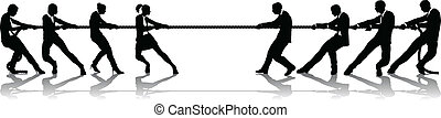 Women versus men business tug of war competition concept....