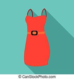women., vetorial, vestido, detalhe, estilo, illustration., ícone, bonito, noite, único, estoque, mulher, vermelho, wardrobe., roupas, símbolo, apartamento