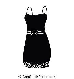 women., vetorial, vestido, pretas, detalhe, estilo, ícone, bonito, noite, único, estoque, mulher, vermelho, wardrobe., roupas, símbolo, illustration.