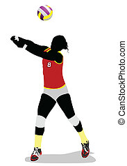 Women volleyball silhouette. Vector