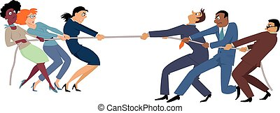 Women vs men - Businesswomen versus businessmen tug of war,...