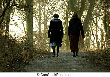 Women Walking Dog - Two Women Walking a Dog Through the...