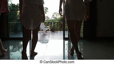Women Walking On Summer Terrace Enjoy View Of Tropical Forest At Sunset Back Rear Of Attractive Girls Outdoors