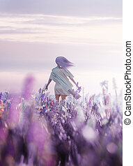 Women Walking Through a Field of Wild Flowers