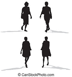 women walking, vector silhouettes