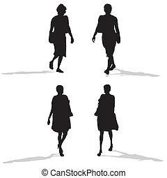 women walking, vector silhouettes