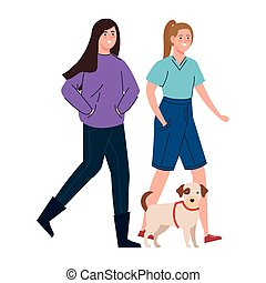 women walking with dog isolated icon