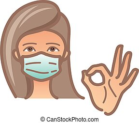 Women wear medical protective mask. For prevent virus, infectious diseases and flu. Woman is showing gesture okay. Surgical mask