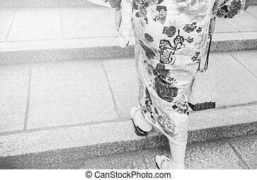 Women wearing kimono walking on street for shopping and cultural day wearing kimono.