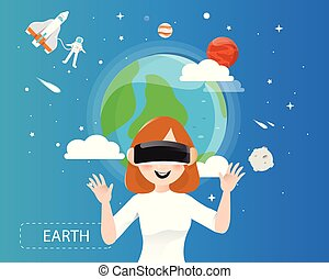 Women wearing virtual reality glasses looking the earth in universe concept