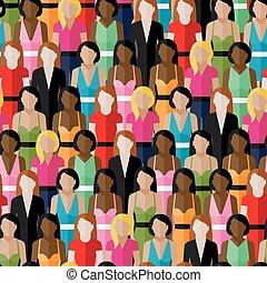 women., wektor, f, próbka, dziewczyny, grupa, seamless, ...