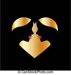 Women whispering in the dark forming a heart