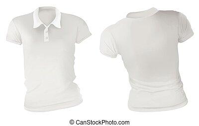 Women White Polo Shirts Template