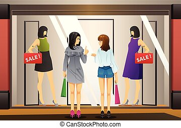 Women Window Shopping in Front of a Clothing Store - A...