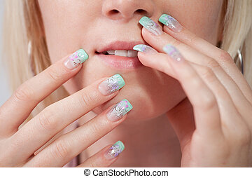 Women with acrylic fingernails - Sensual women with acrylic...