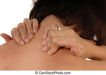 women with back and neck ache rubbing both shoulders...