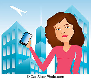 women with cell phone 2 - It is an illustration Eps file