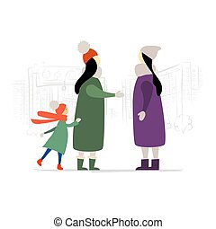 Women with Child Talking on the city street. Winter Season.