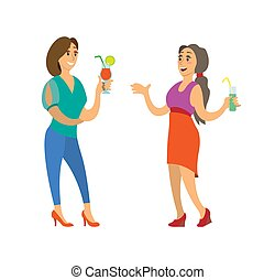 Women with Cocktail, Lady in Evening Gown Vector - Women...