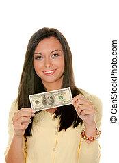 Women with dollar bills