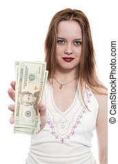 women with dollar bank notes in hand offer it to viewer....