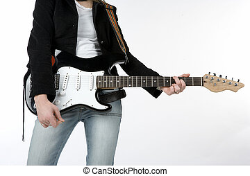 Women with guitar - Women body with electric guitar