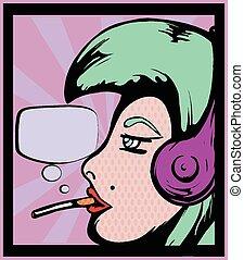 Women with headphones poster