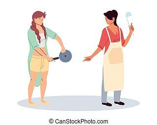 women with kitchen utensils on white background